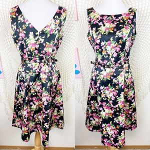 Talbots Floral Drop waist sleeveless Midi Dress 12